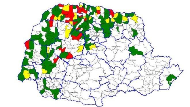 Mapa da dengue no Paraná segundo o 21º boletim epidemiológico da Sesa.