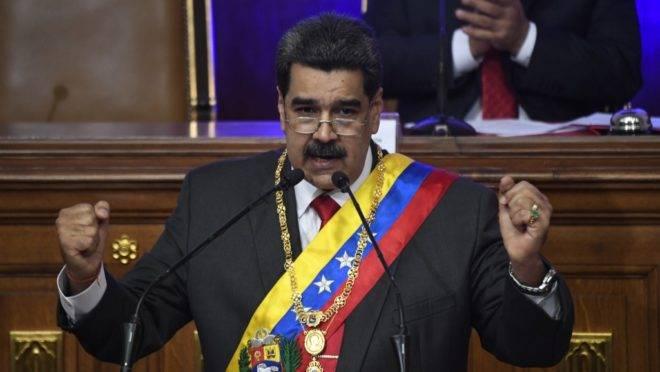 O ditador da Venezuela, Nicolás Maduro, discursa à Assembleia Nacional Constituinte em Caracas, 14 de janeiro de 2020