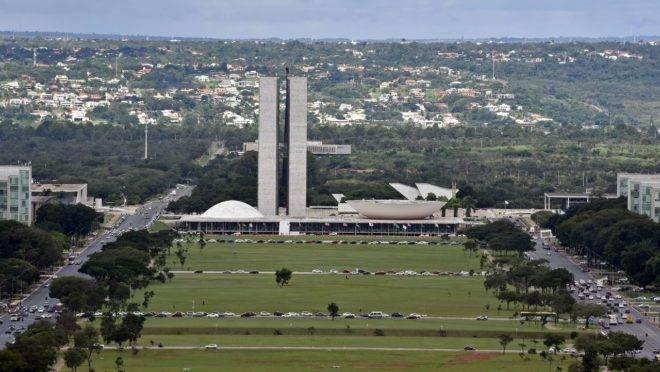 Imagem aérea do Congresso Nacional.