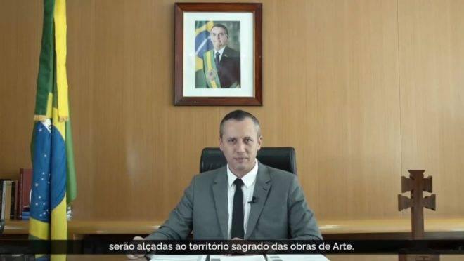 Roberto Alvim, secretário especial de Cultura, em vídeo de lançamento do Prêmio Nacional das Artes