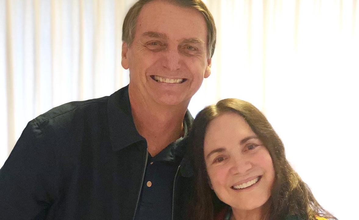 Jair Bolsonaro e Regina Duarte.