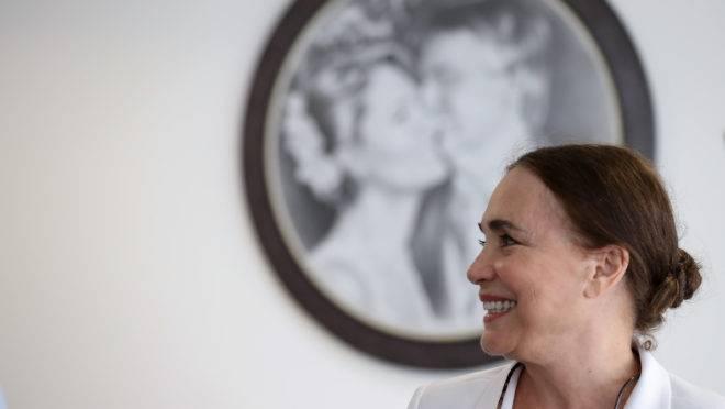 Regina Duarte durante visita ao Palácio do Planalto.
