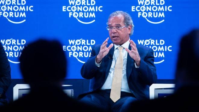 O ministro da Economia, Paulo Guedes, foi o principal representante do governo brasileiro no Fórum Econômico Mundial de 2020, em Davos, na Suíça.