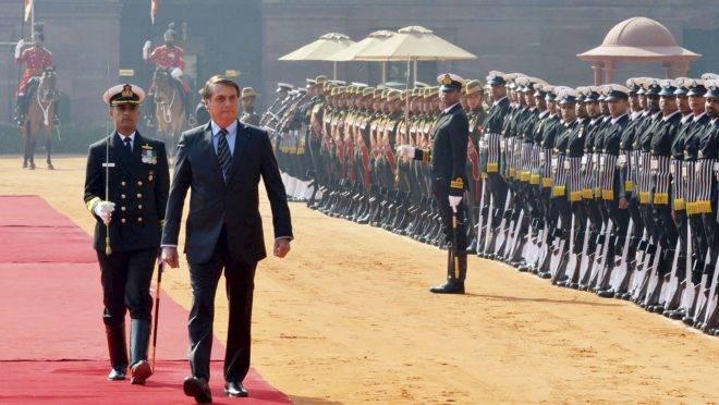 Jair Bolsonaro está na Índia para as comemorações do Dia da República.