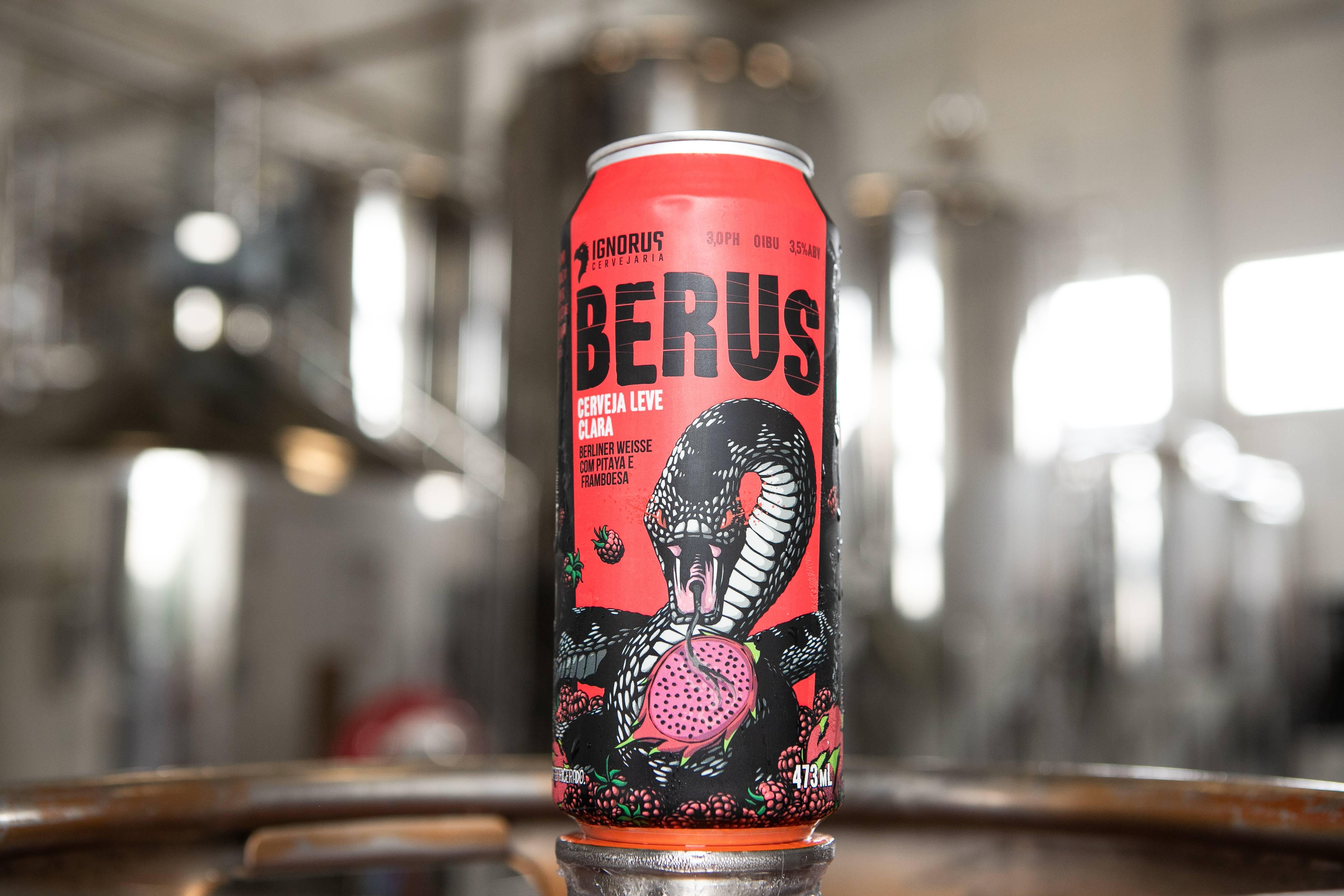 Berus: 3,5% / American Sour Beer com framboesas e pitaia, 473 ml - Preço: R$ 21,90.