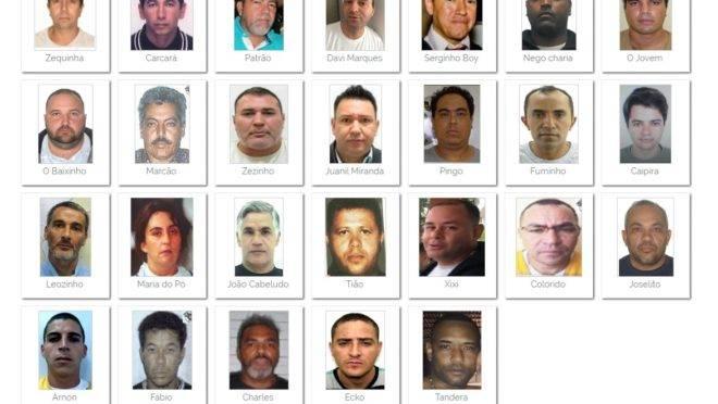 Lista dos criminosos mais procurados do Brasil divulgada pelo Ministério da Justiça.