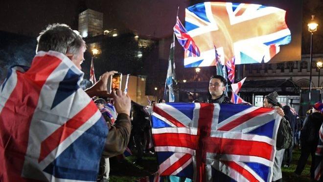Comemoração do Brexit na Parliament Square, em Londres