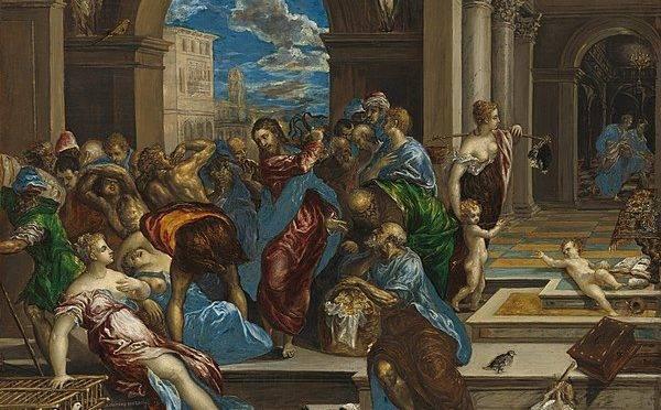 """""""Jesus expulsando os vendilhões"""" Por El Greco, atualmente na National Gallery of Art, em Washington D.C"""