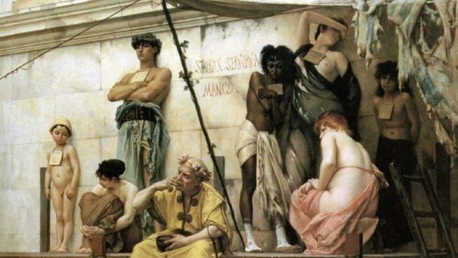"""Detalhe de """"O mercado de escravos"""", de Gustave Boulanger."""