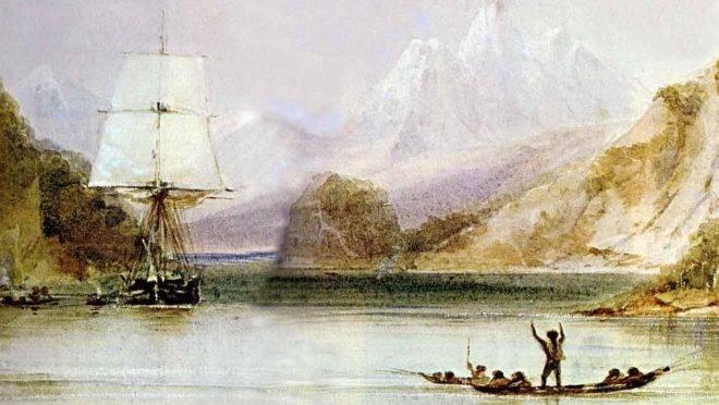 O HMS Beagle, navio em que Charles Dawin deu a volta ao mundo, é recebido por habitantes da Terra do Fogo