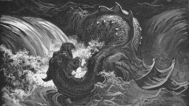 """Detalhe de """"A destruição do Leviatã"""", gravura de Gustave Doré."""