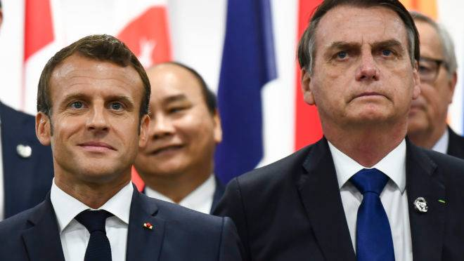 Os presidentes Jair Bolsonaro e Emmanuel Macron