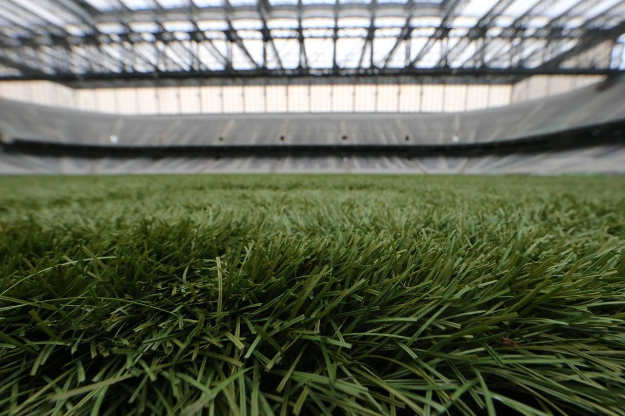 Além da grama artificial, campo da Arena possui fibra de coco | Foto: Albari Rosa/Gazeta do Povo