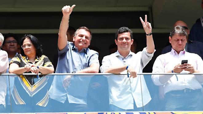 Bolsonaro e Moro assistem à Supercopa do Brasil 2020.