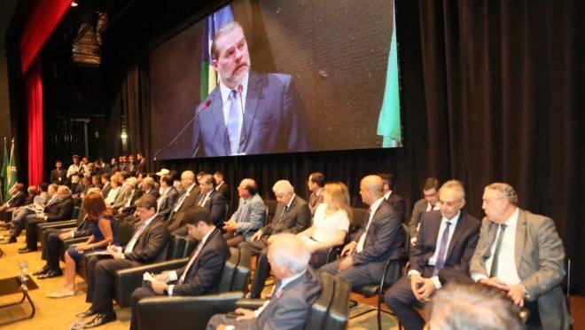 O ministro Dias Toffoli no lançamento do programa Destrava, em Goiânia.