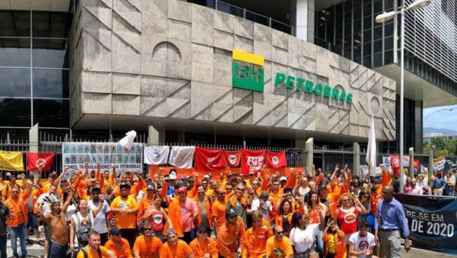 Manifestação dos petroleiros no Rio de Janeiro.