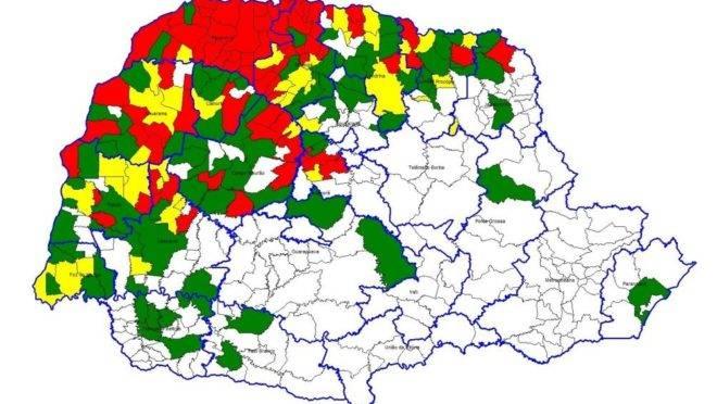 Mapa da dengue no Paraná no boletim epidemiológico de 18/2/2020.