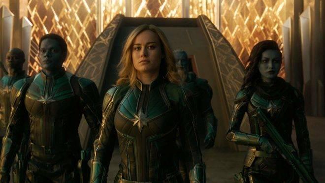 Brie Larson em Capitã Marvel, um dos filmes campeões de bilheteria em 2019.