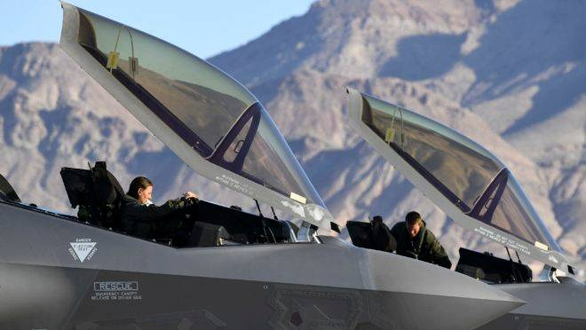F-35A Lightning II pilots with the 421st Fighter Squadron return after flying a sortie during exercise Red Flag 20-1 at Nellis Air Force Base, Nev., Feb. 3, 2020. Red Flag is the Air Force's premiere large-scale combat exercise. (U.S. Air Force photo by R. Nial Bradshaw)