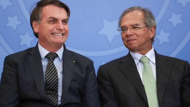 Jair Bolsonaro e Paulo Guedes (Brasília - DF, 20/02/2020) Lançamento do Crédito Imobiliário com Taxa Fixa.