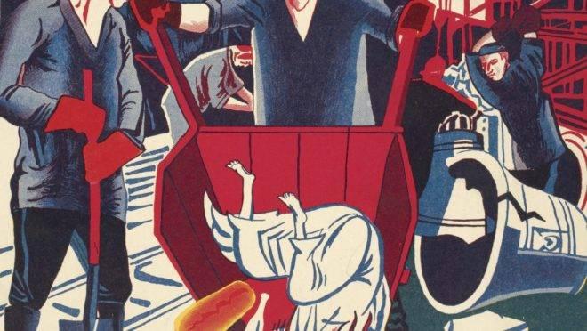 """Capa da revisa soviética """"Sem Deus"""", de 1929, mostra um operário despejando Jesus de um carrinho de mão."""