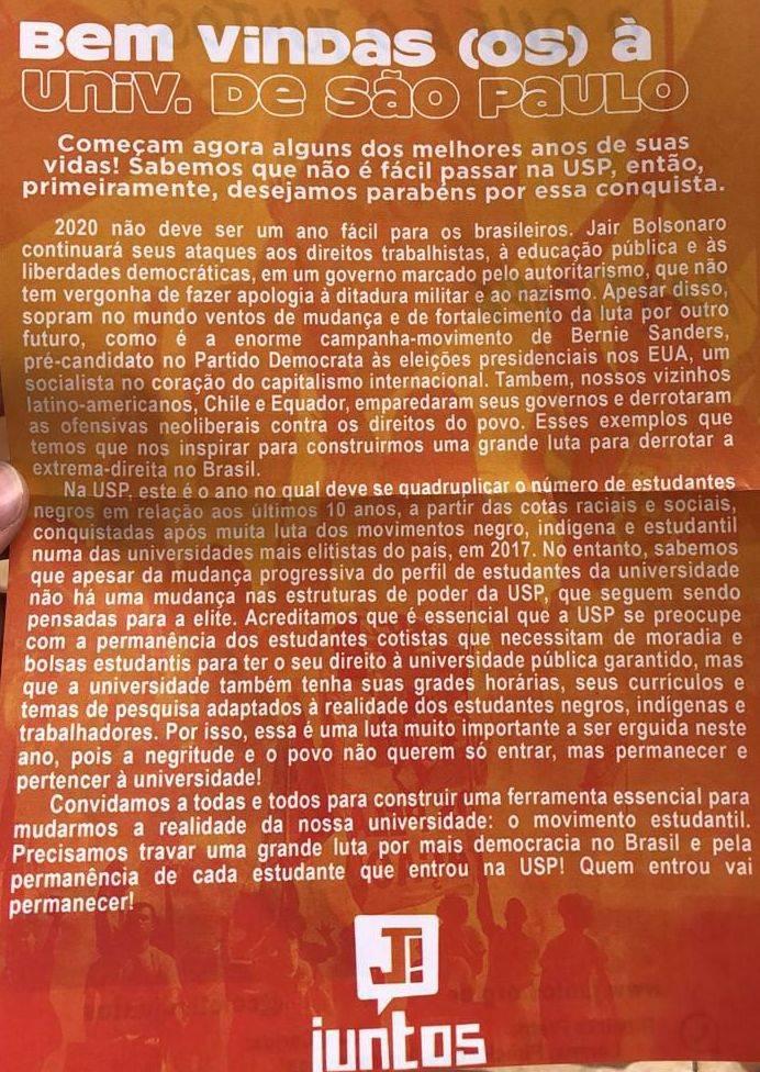 Panfleto distribuído na USP