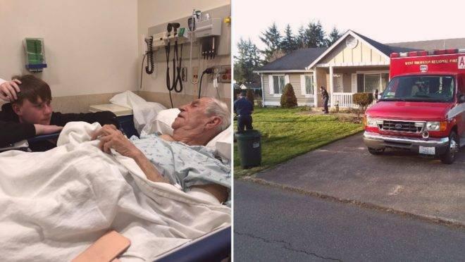 O norte-americano Harold Storelee, de 88 anos, quebrou o quadril depois de uma queda enquanto cortava a grama de seu quintal.