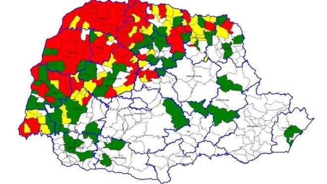 Já são 106 municípios (em vermelho) com epidemia da doença.