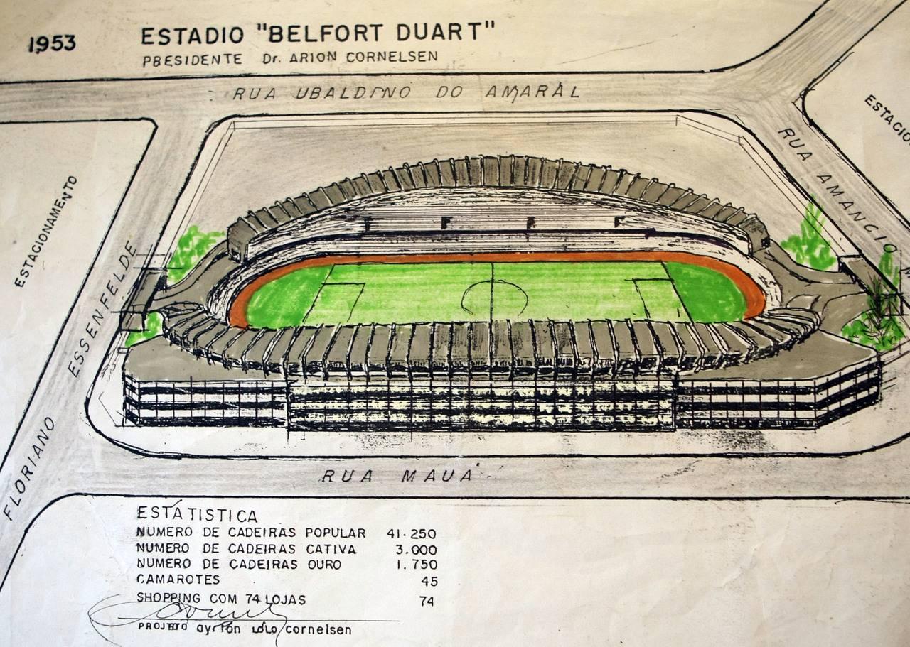 Projeto do estádio do Coritiba. Valterci Santos/Arquivo/Gazeta do Povo