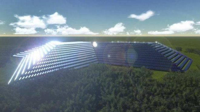 Projeção de como ficará o aterro sanitário, após instalação dos painéis fotovoltaicos.