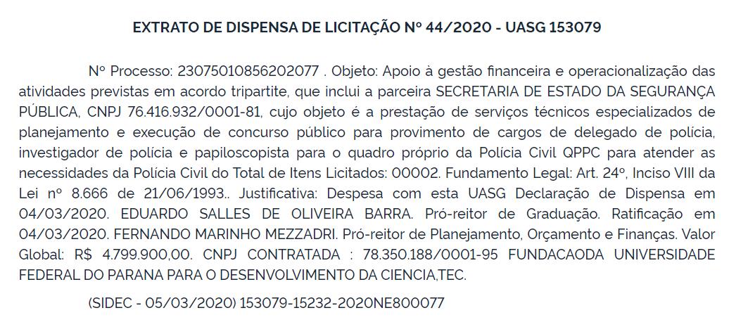 Reprodução do DOU de 06 de março de 2020