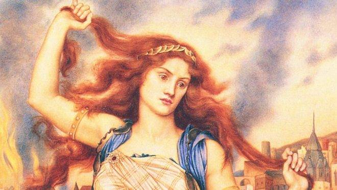 Cassandra em frente à cidade de Troia em chamas, em pintura de Evelyn De Morgan.