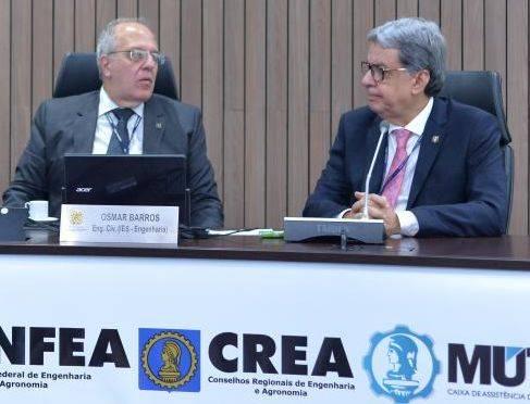 Osmar Barros Júnior: presidente em exercício do Confea. <br />Francisco Almeida: presidente do CREA-GO.
