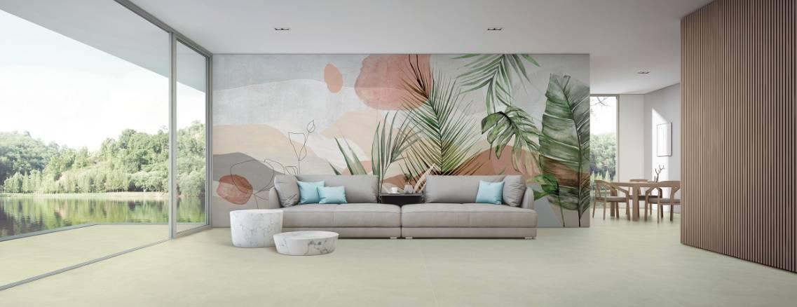 Papel de parede Natureza Imaginária é o primeiro da Portinari e homenageia a natureza brasileira, segundo a visão de Candido Portinari e Juliana Medeiros.   Foto: Divulgação