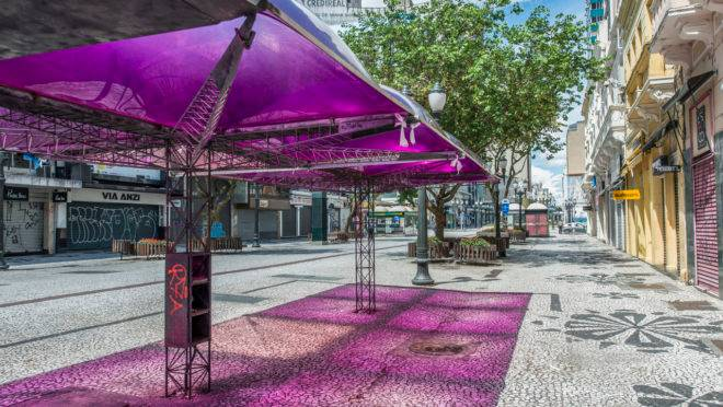 Centro de Curitiba vazio com a quarentena.