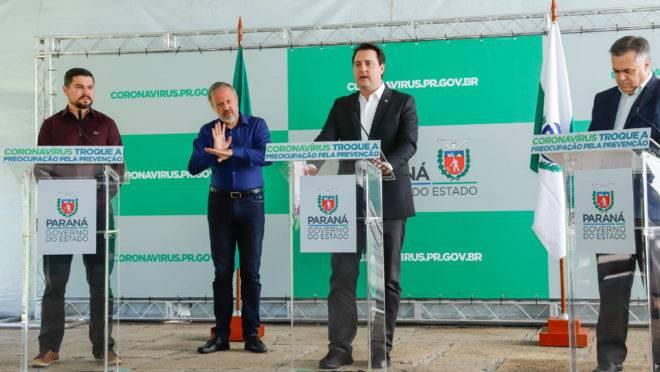 O governador Ratinho Junior durante evento de anúncio da ampliação da rede hospitalar.
