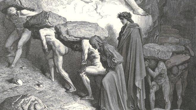A punição dos orgulhosos no Purgatório, na gravura de Gustave Doré.