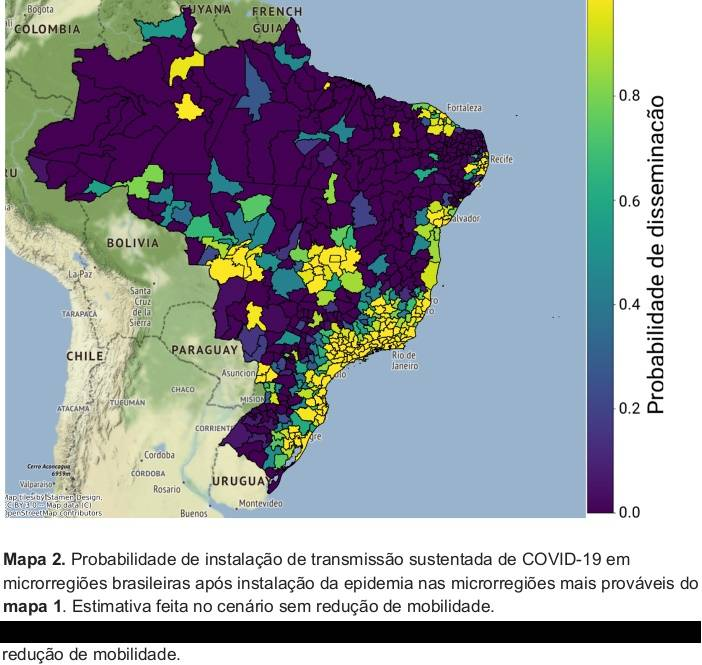 Em amarelo, as regiões em maior risco para a contaminação da Covid-19 em uma segunda onda da doença Gráfico: MAVE - Grupo de Métodos Analíticos em Vigilância Epidemiológica (PROCC/Fiocruz e EMAp/FGV).