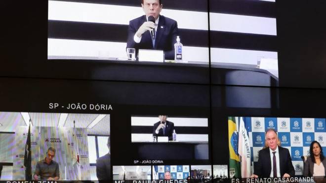 Videoconferência do presidente Jair Bolsonaro com governadores do Sudeste para tratar do combate ao coronavírus.