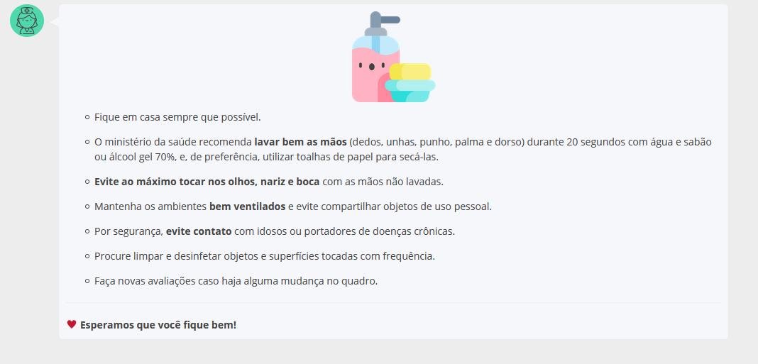 Exemplo de orientações dadas em aplicativos. Reprodução/Caren.app