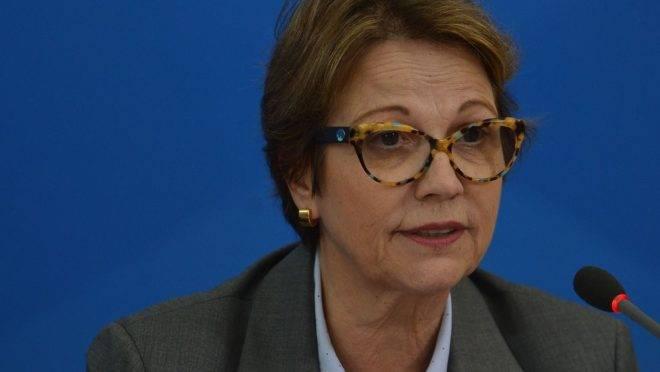 Ministra da Agricultura,Tereza Cristina, diz que não haverá falta de alimentos por causa da covid-19 no país.