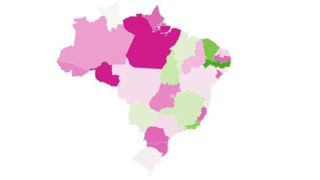 Mapa mostra a qualidade da transparência dos estados brasileiros sobre a Covid-19.