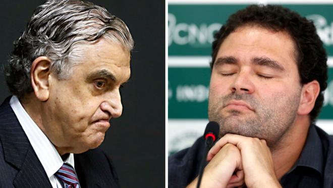 Mario Celso Petraglia, presidente do Athletico, e Samir Namur, do Coritiba.