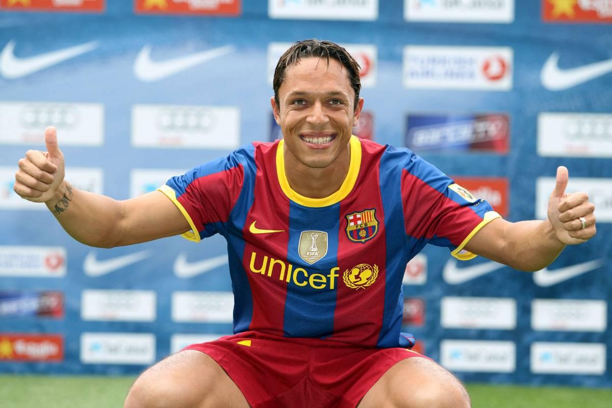 Adriano em apresentação ao Barça: início de uma história vitoriosa. Foto: Divulgação