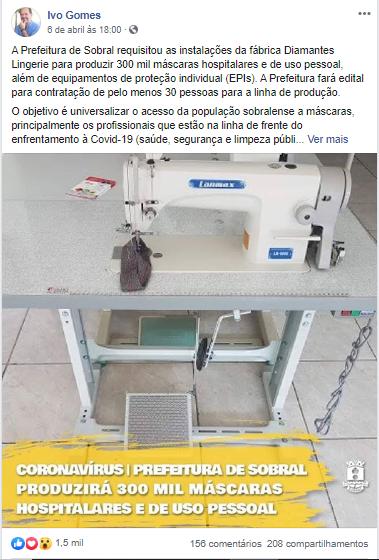 Reprodução de publicação do perfil de Ivo Gomes no Facebook