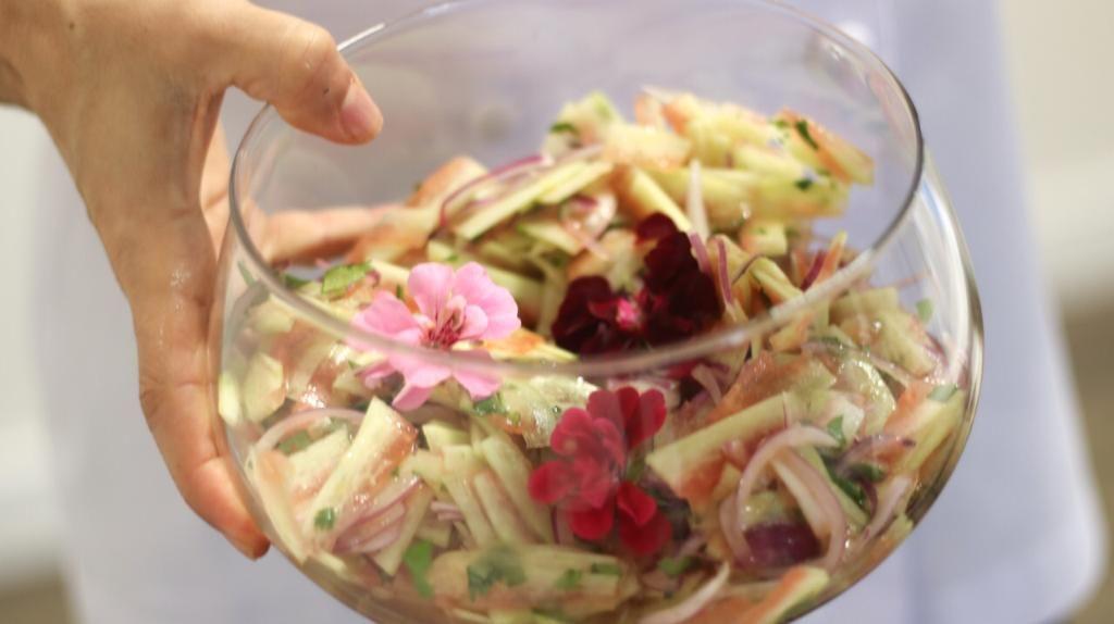 A casca de melancia é o principal ingrediente deste ceviche. Foto: Divulgação