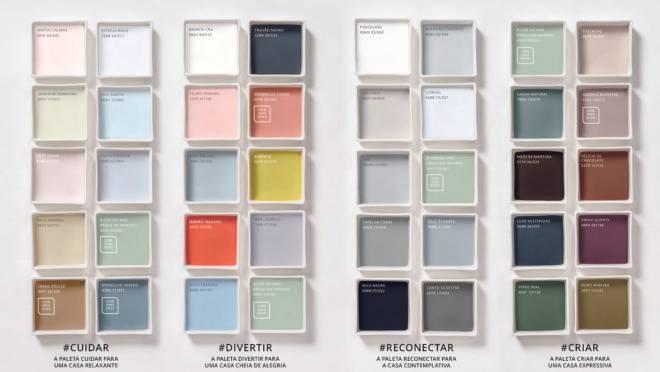 Paletas de cores Coral mostrando as tendências 2020 para o lar.