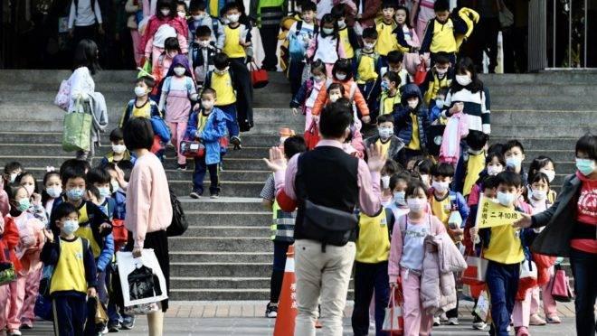 Crianças usando máscaras de proteção deixam escola primária em Nova Taipé, Taiwan, 3 de março de 2020