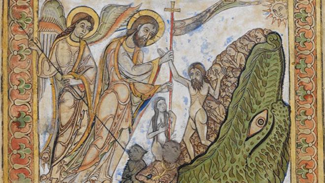 A descida aos infernos, representação iconográfica que representa a vitória de Cristo sobre a morte, em uma ilustração de um saltério do século XII.