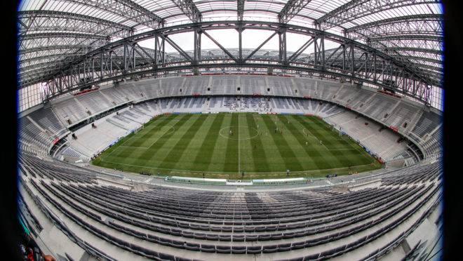 Estádio do Athletico Paranaense em jogo sem torcida.
